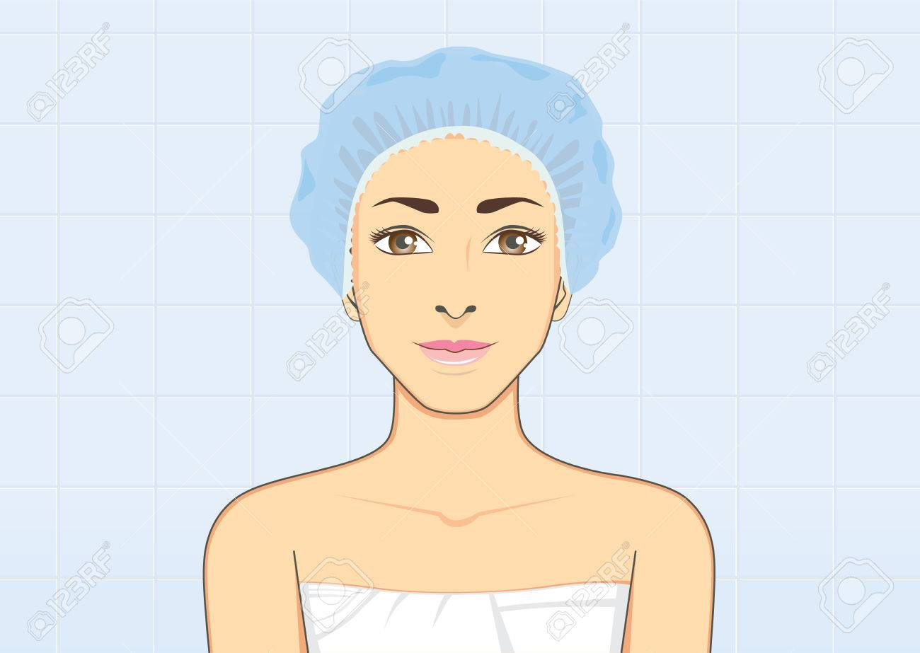 健康な女性保護衛生の概念と濡れた髪のための浴室でシャワーを着て笑顔のキャップします のイラスト素材 ベクタ Image