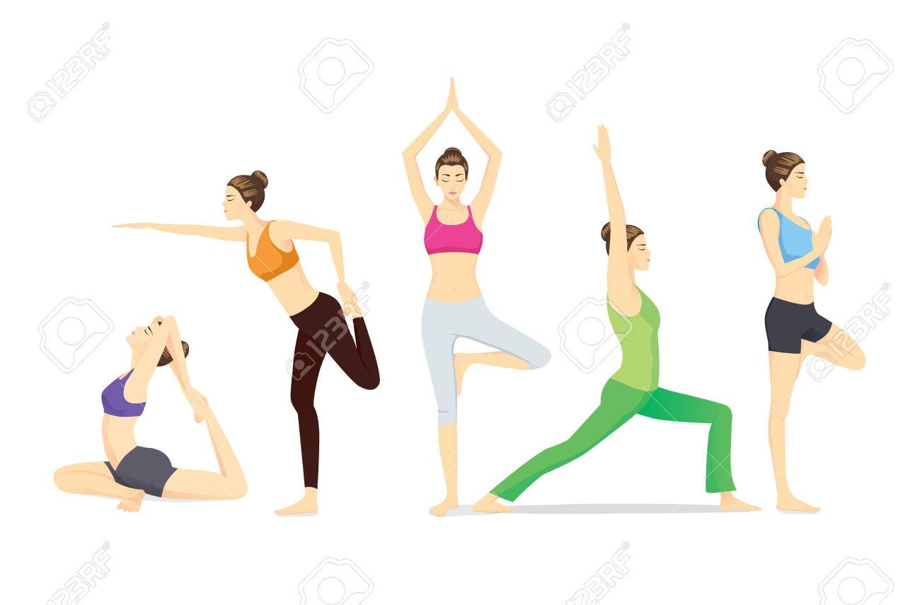 Beauty Women Group In Sportswear Posing Different Yoga Posture Royalty Free Cliparts Vectors And Stock Illustration Image 47046723