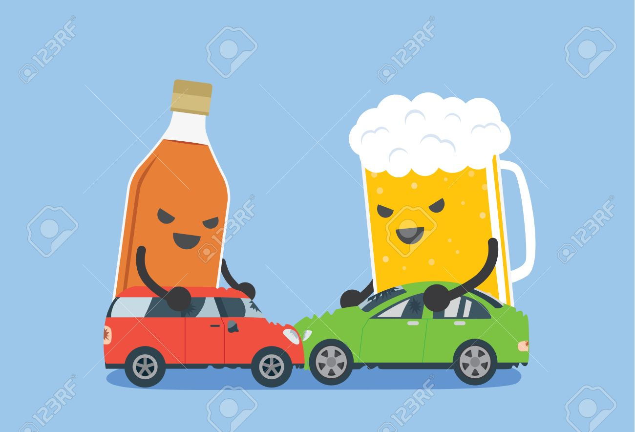 Alcohol and beer push a 2 car to make accident. This illustration..