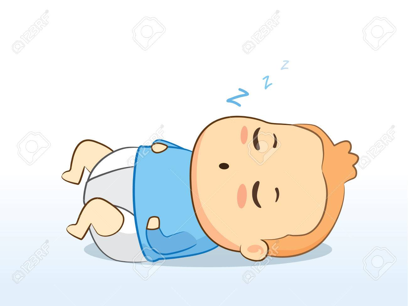 Lovely Baby Wearing Diaper Sleeping For Good Grow Royalty Free