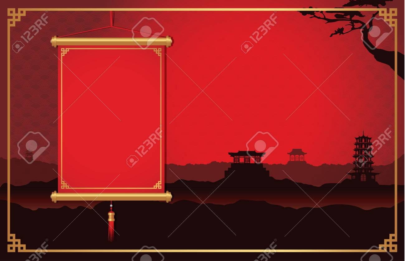 Red chinese hanging not have text front of china scene background red chinese hanging not have text front of china scene background decorate with china style frame jeuxipadfo Image collections
