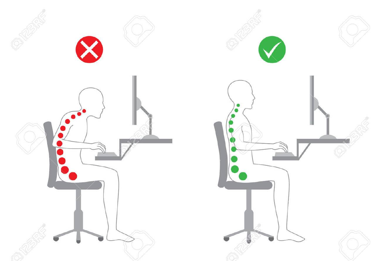 Correct body alignment in sitting working with computer - 50908092