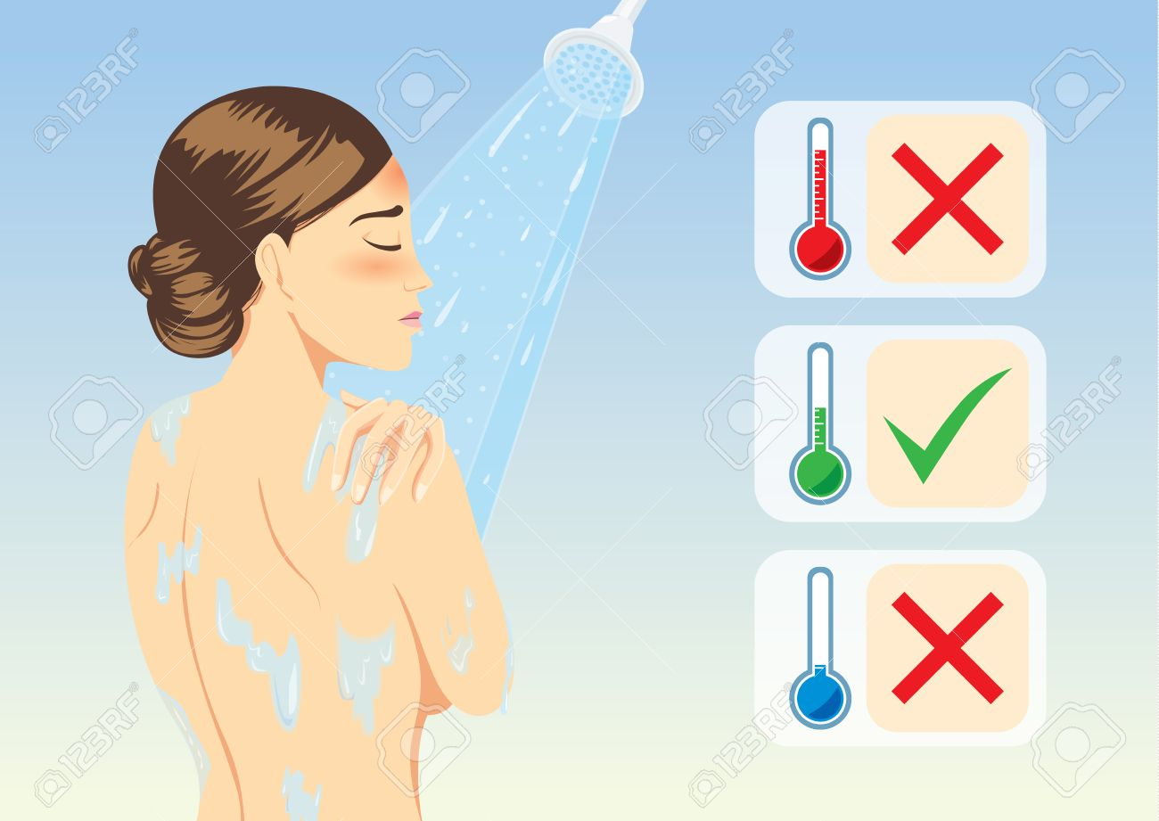Woman determine temperature of lukewarm water for reduce fever with bathing. Medical illustration. - 56581751