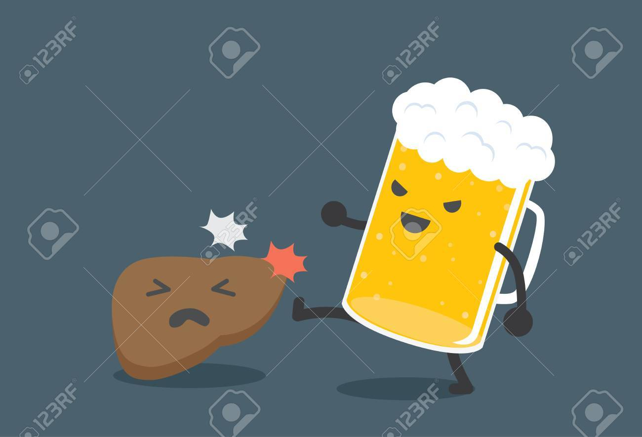 Beer kick a liver. This picture means drink beer harm the liver. - 59385718