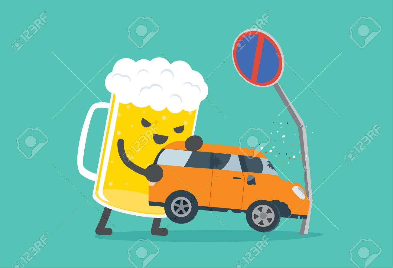 Beer Lifting A Car Crashed Into No Parking Signs. This Illustration ...