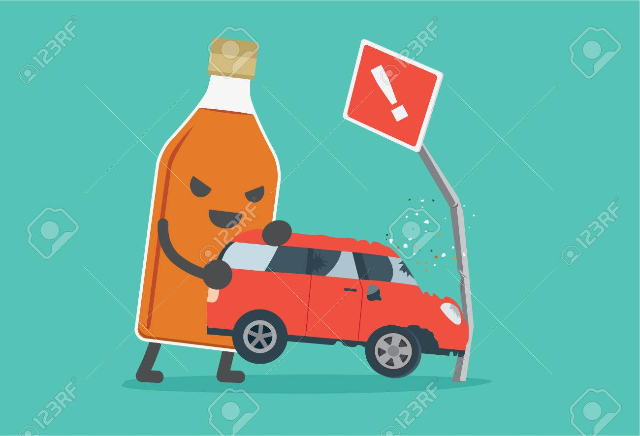 Liquor Bottles Lifting A Car Crashes Into Road Signs. This ...