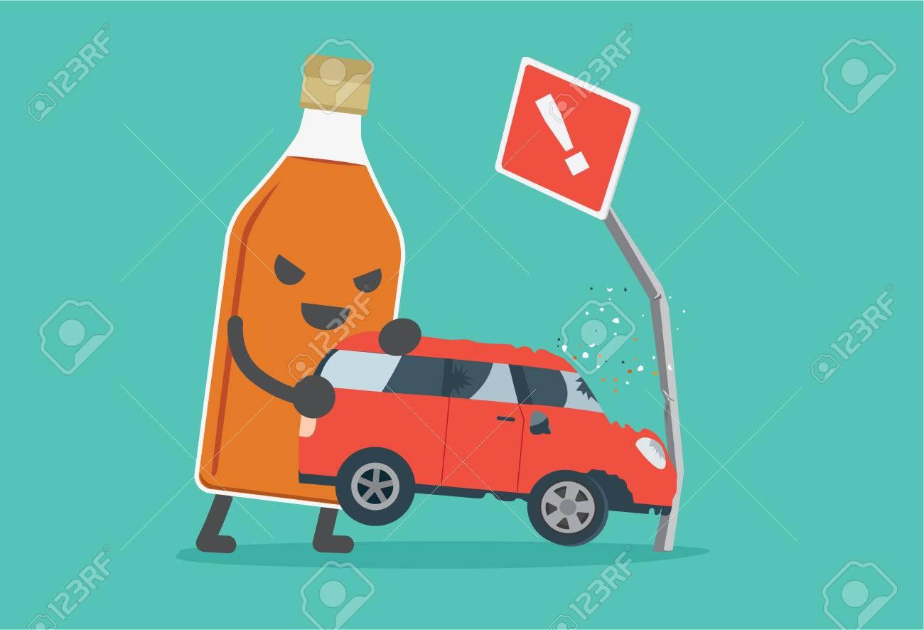 Schnapsflaschen Ein Auto Heben Stürzt In Straßenschilder. Diese ...