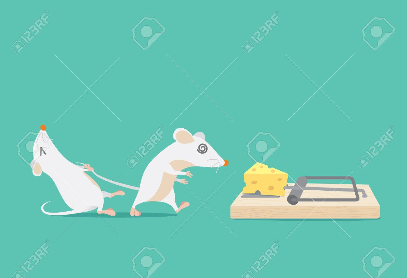 Rat try to stop friend to trapped because cheese. Ideal for illustration about business concept and consulting or other. - 59700371