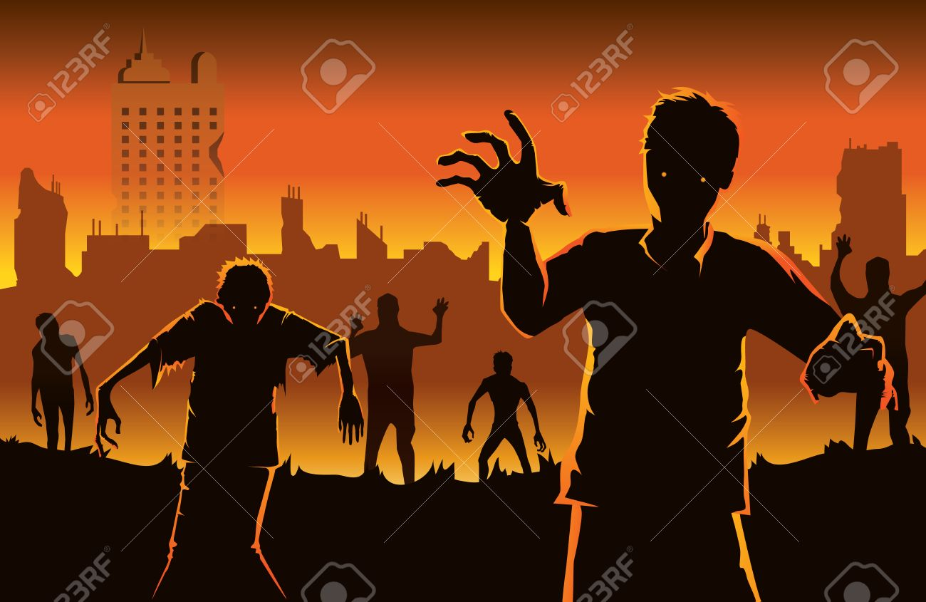 Zombie walking out from abandoned city. Silhouettes illustration about Halloween concept. - 61632635