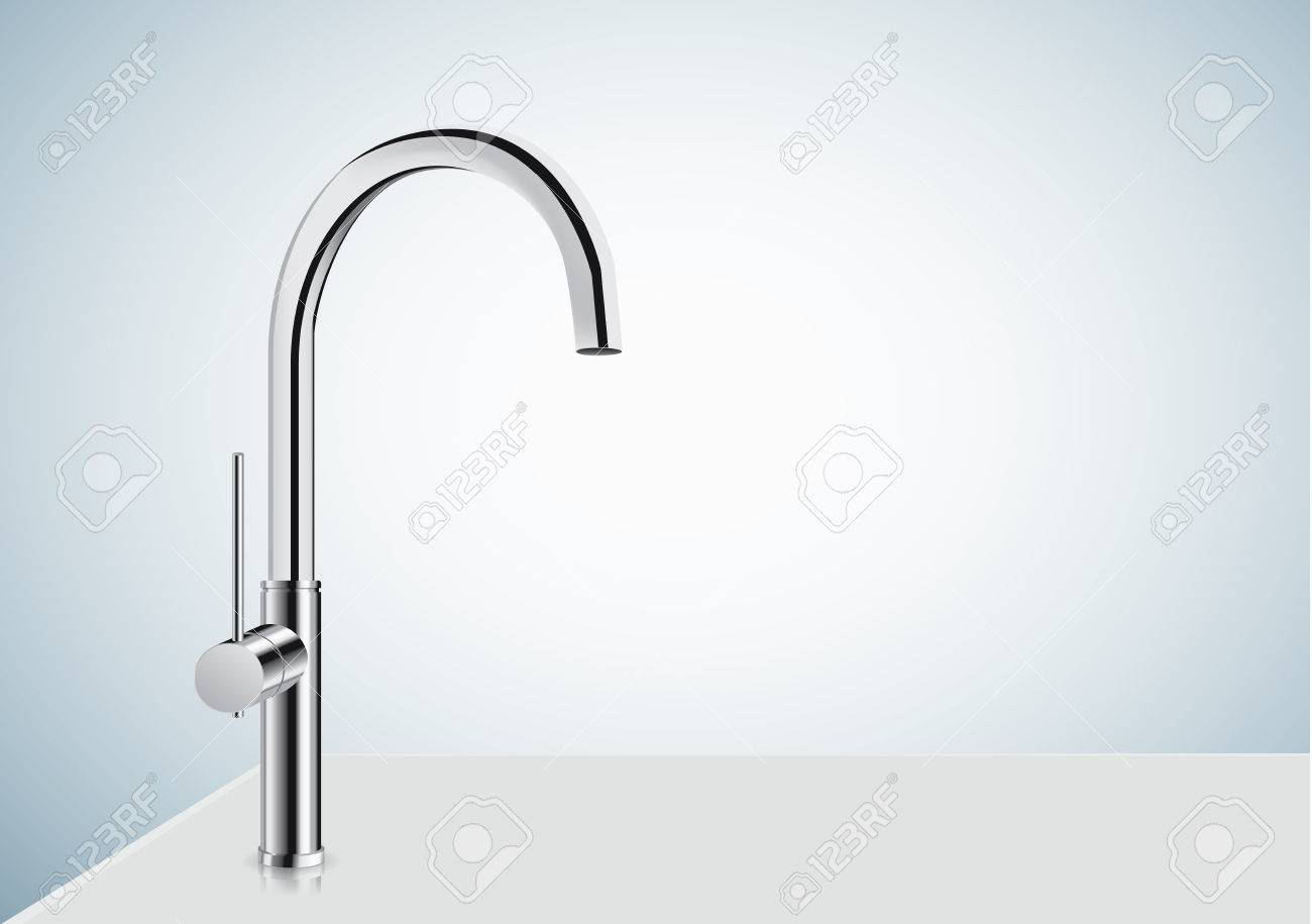 Silver Kitchen Faucet On Blue Background. Align One Handle High ...