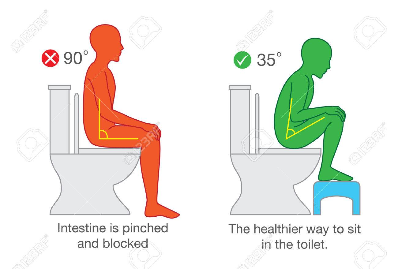 Correct sitting get the proper degree angle of body on toilet seat for help with excretion. - 79737053