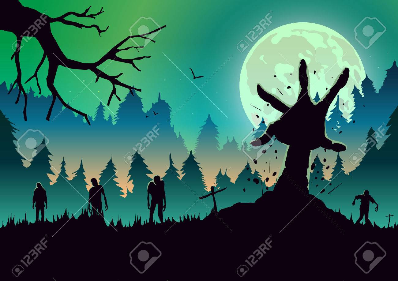 Silhouette Zombie arm reaching out from ground in a full moon night. Ideal for nightclub poster green theme. - 83769130