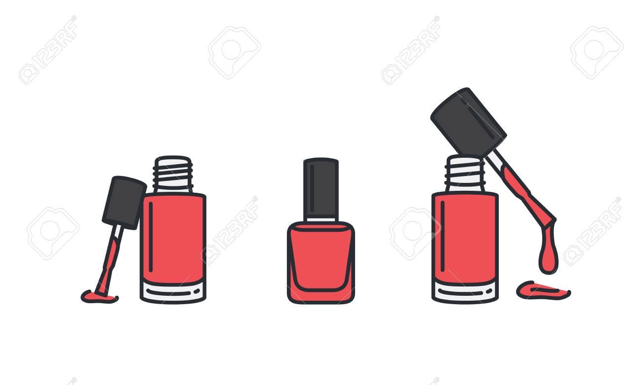 Esmalte De Uñas Rojo En Botella Transparente Con Estilo De Icono De ...