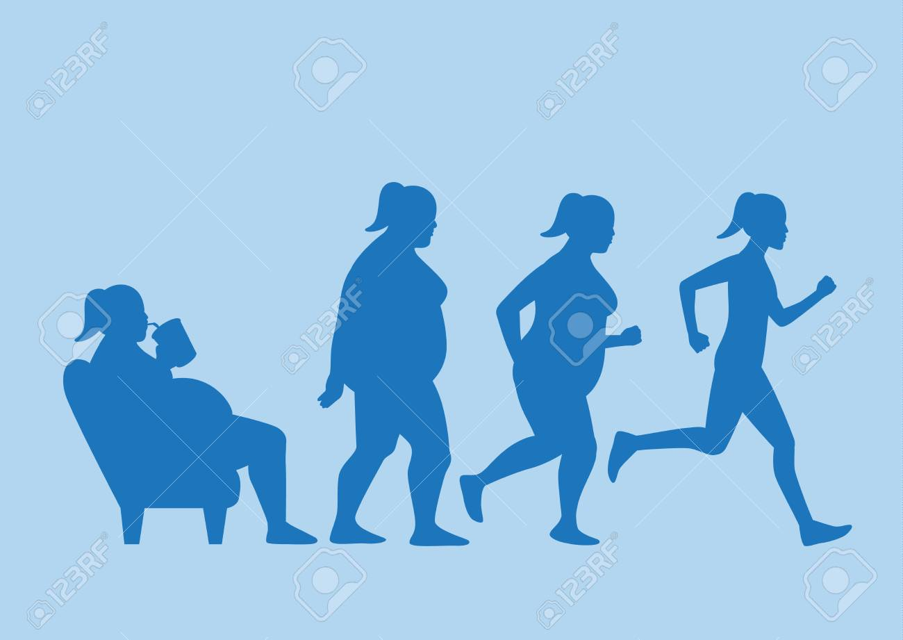 Fat woman get out of sofa and change his body to slim shape in 4 step with run. This illustration about exercise concept. - 93321848