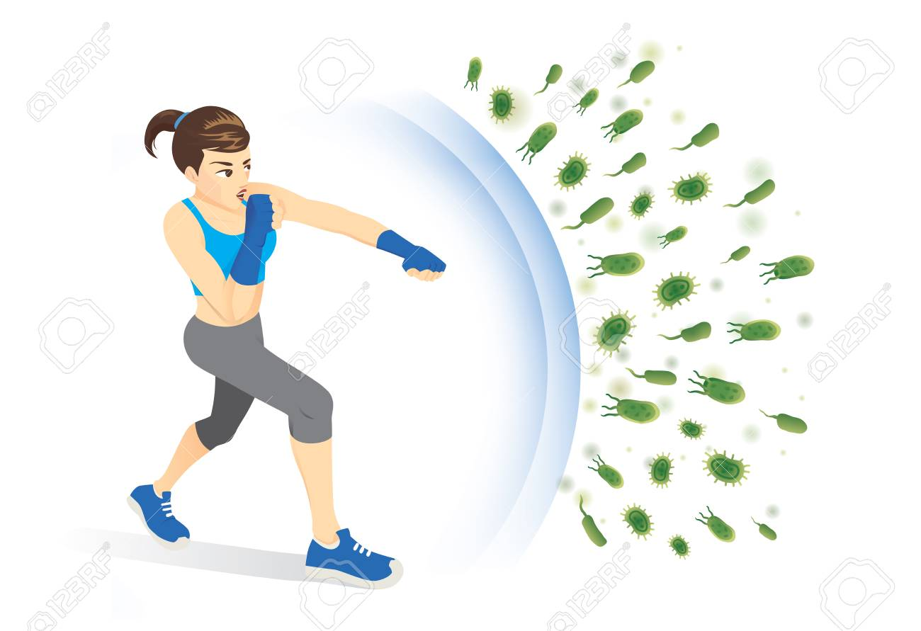 Healthy woman reflect bacteria attack with punching. Concept illustration about boost Immunity with Exercise. - 104605075