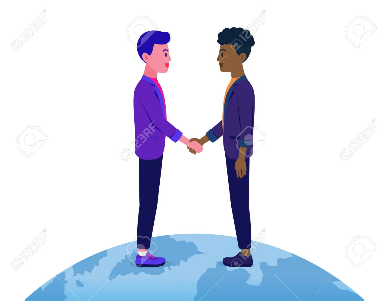 Businessman shaking hands with a man have different Skin color on the world. Illustration about business contract with another nationalist. - 110363751