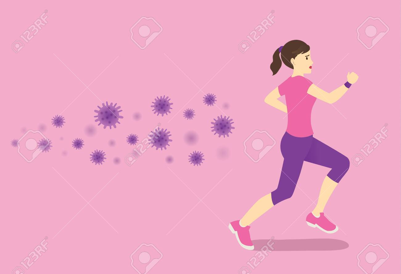 Virus and germ follow up healthy Woman while she trying run away. Concept illustration about health care with workout. - 121198533