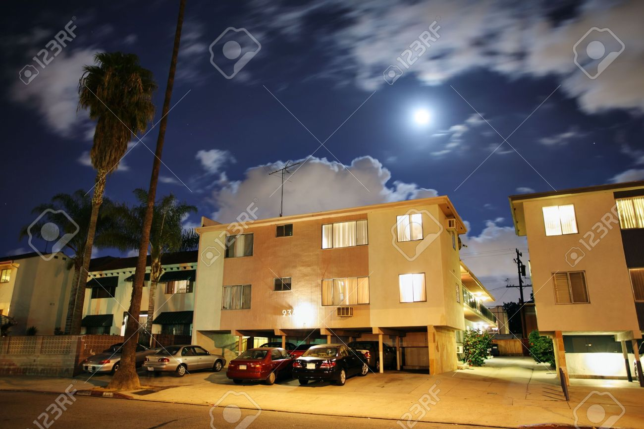 Residential Street With Apartment Buildings At Night At Los