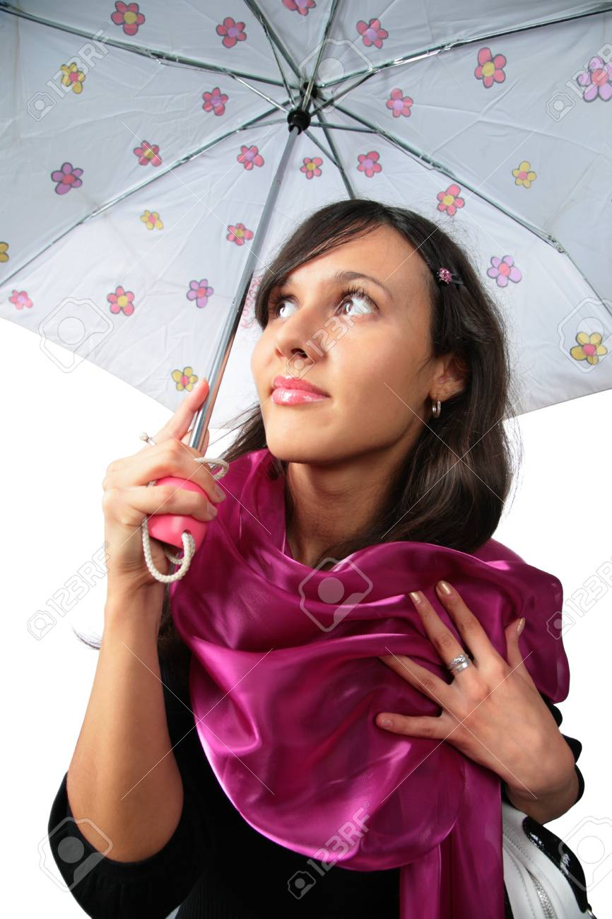 Beautiful brunette girl under umbrella Stock Photo - 4319875