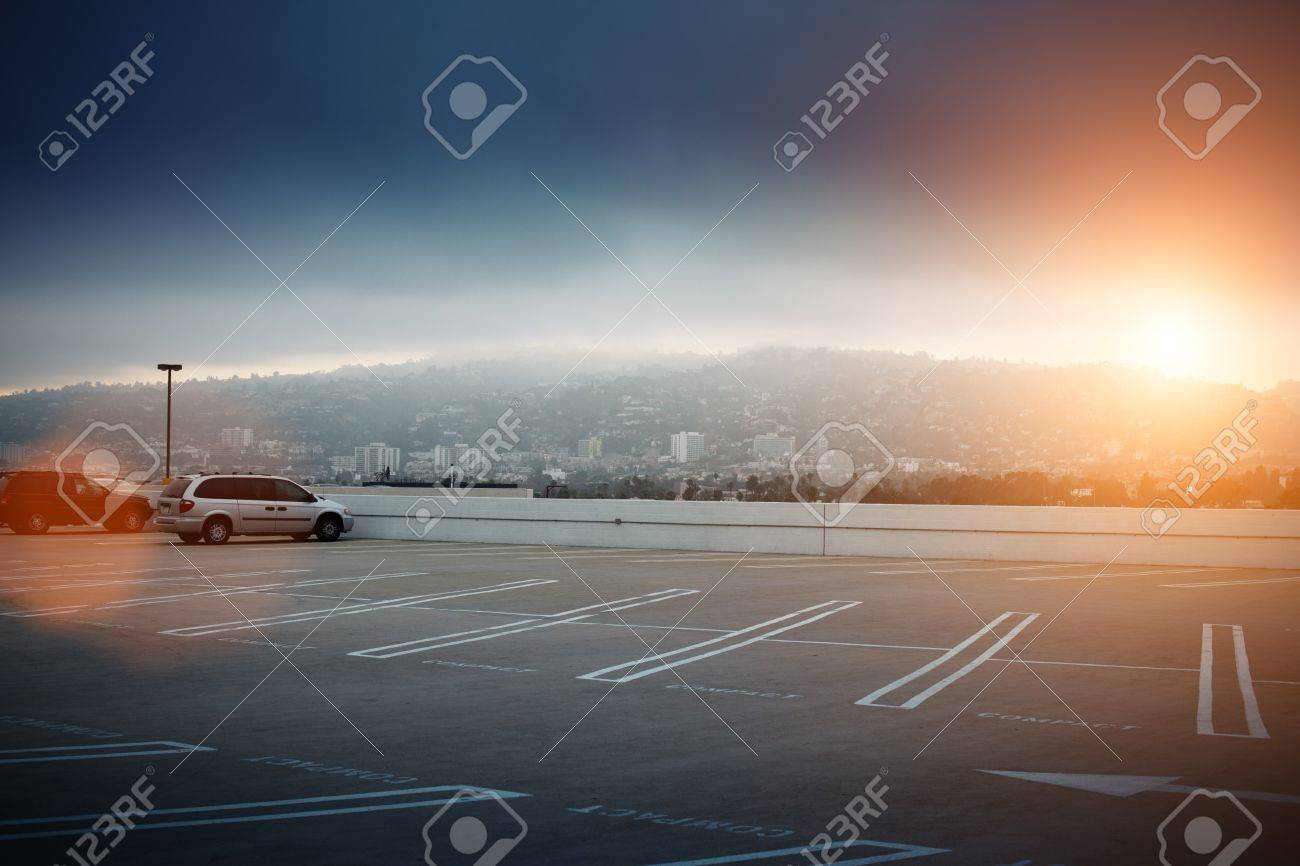 Big empty parking lot space ontop of roof in Los Angeles, California. Stock Photo - 8393437
