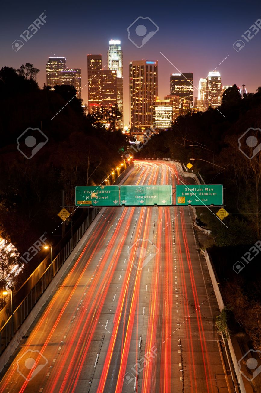 Freeway traffic to Downtown Los Angeles at night Stock Photo - 14259509