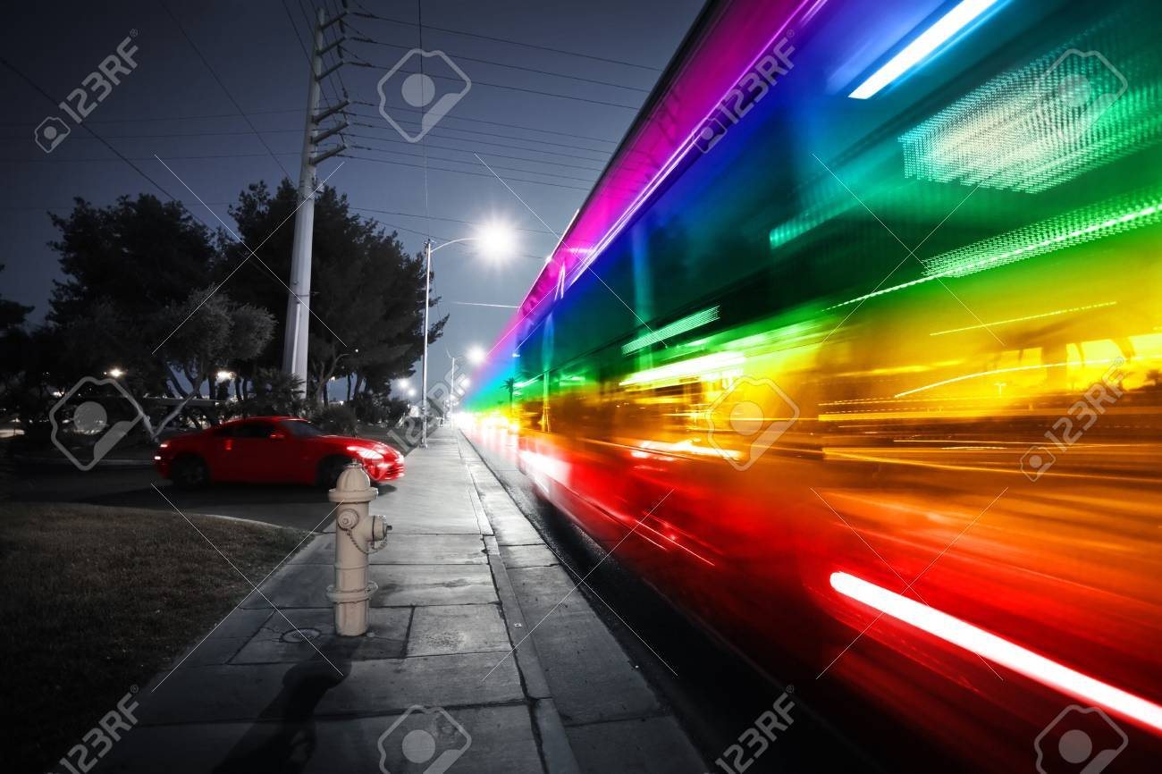 Speeding bus, blurred motion  Las Vegas Blvd , Las Vegas, USA Stock Photo - 14641923