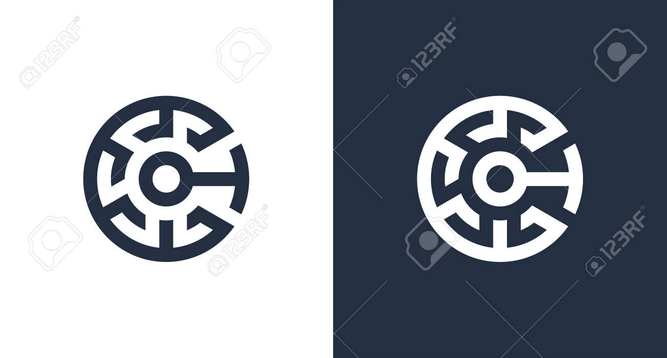 Creative letter C initial logo with abstract crypto element, CT logo template .vector - 165158619