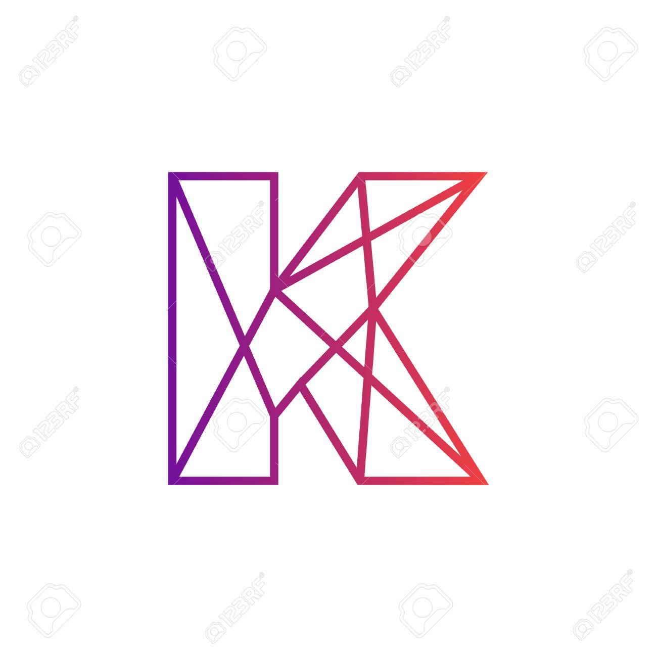 Line Letter K Logotype. Abstract Logo Icon Design, Symbol Creative
