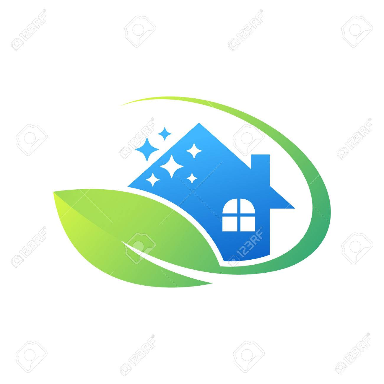 Cleaning Service Logo Design Idea. Creative Eco Symbol Template. Building  And House Stock Vector