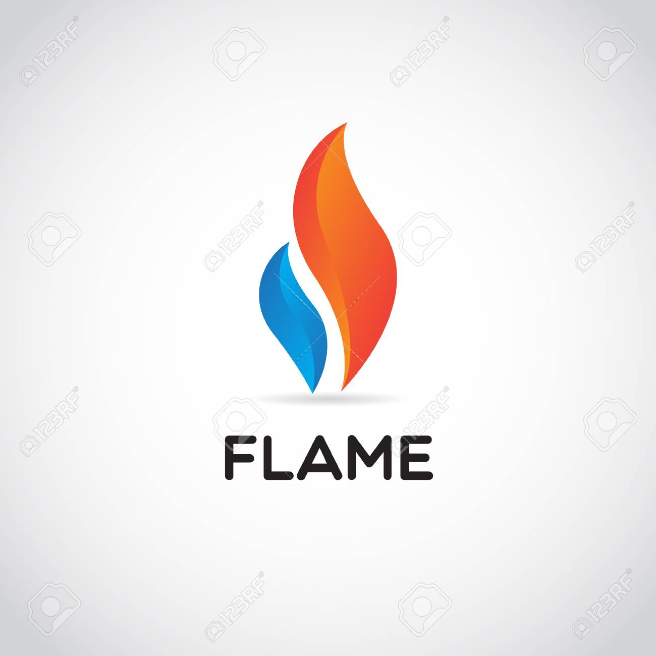 Clean Red Blue Fire Flame Logo Sign Symbol Icon - 125123189