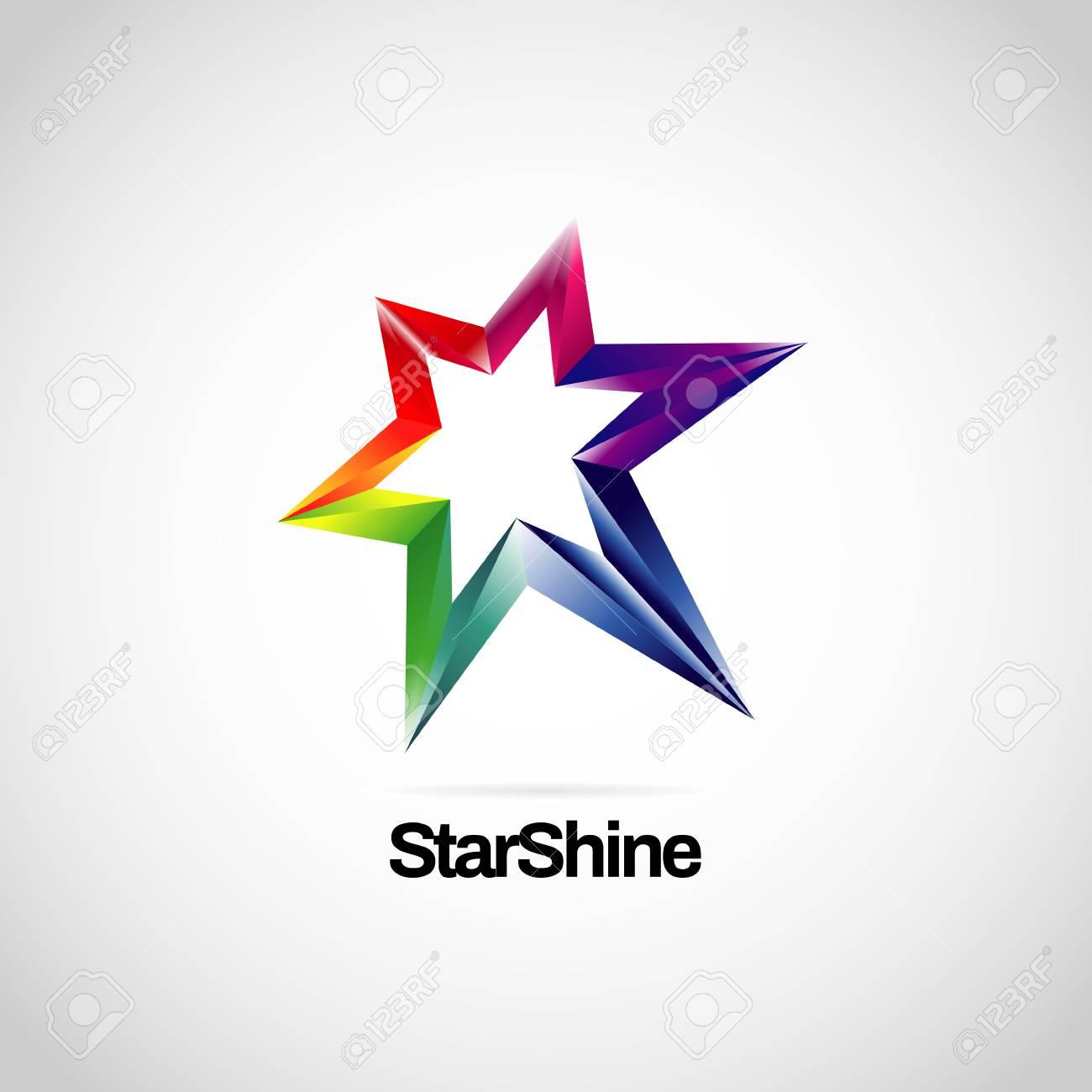 Shiny Vibrant Rainbow Star Logo Symbol Icon - 125123319