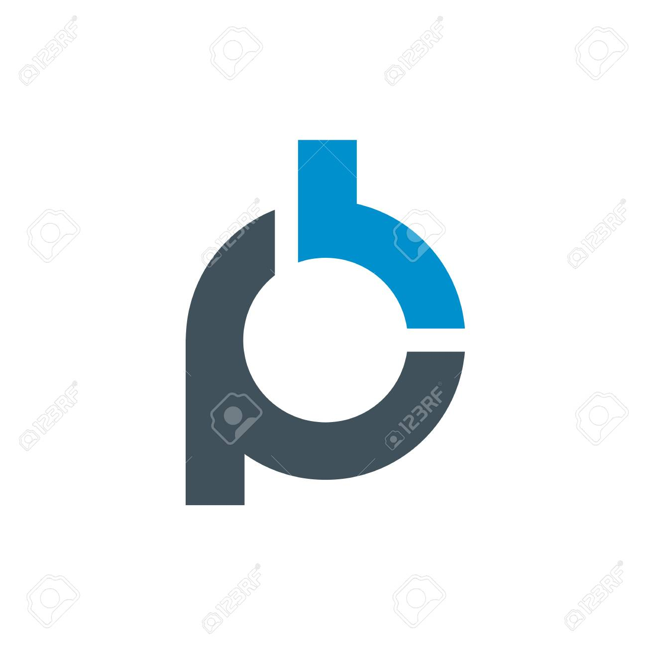 Logo of stylized Letter P and B  Clean and simple logo template,
