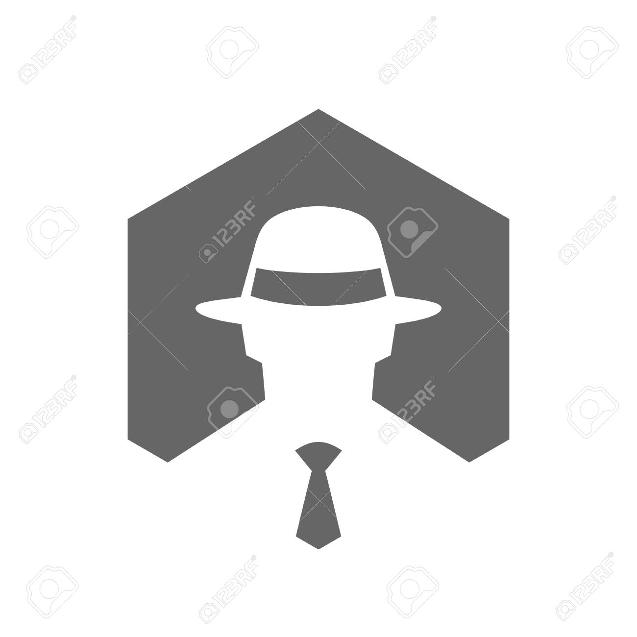603069ed Hexagonal Incognito Icon, Hacker Logo Design, Man With Fedora Hat Logo,  Secret Agent