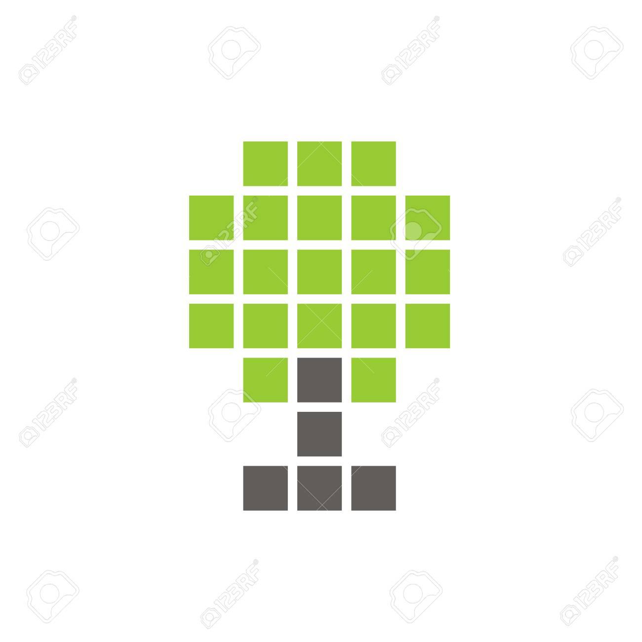 Pixel Tree Symbol Digital Plant Icon Design Vector Logo Illustration Royalty Free Cliparts Vectors And Stock Illustration Image 105656121
