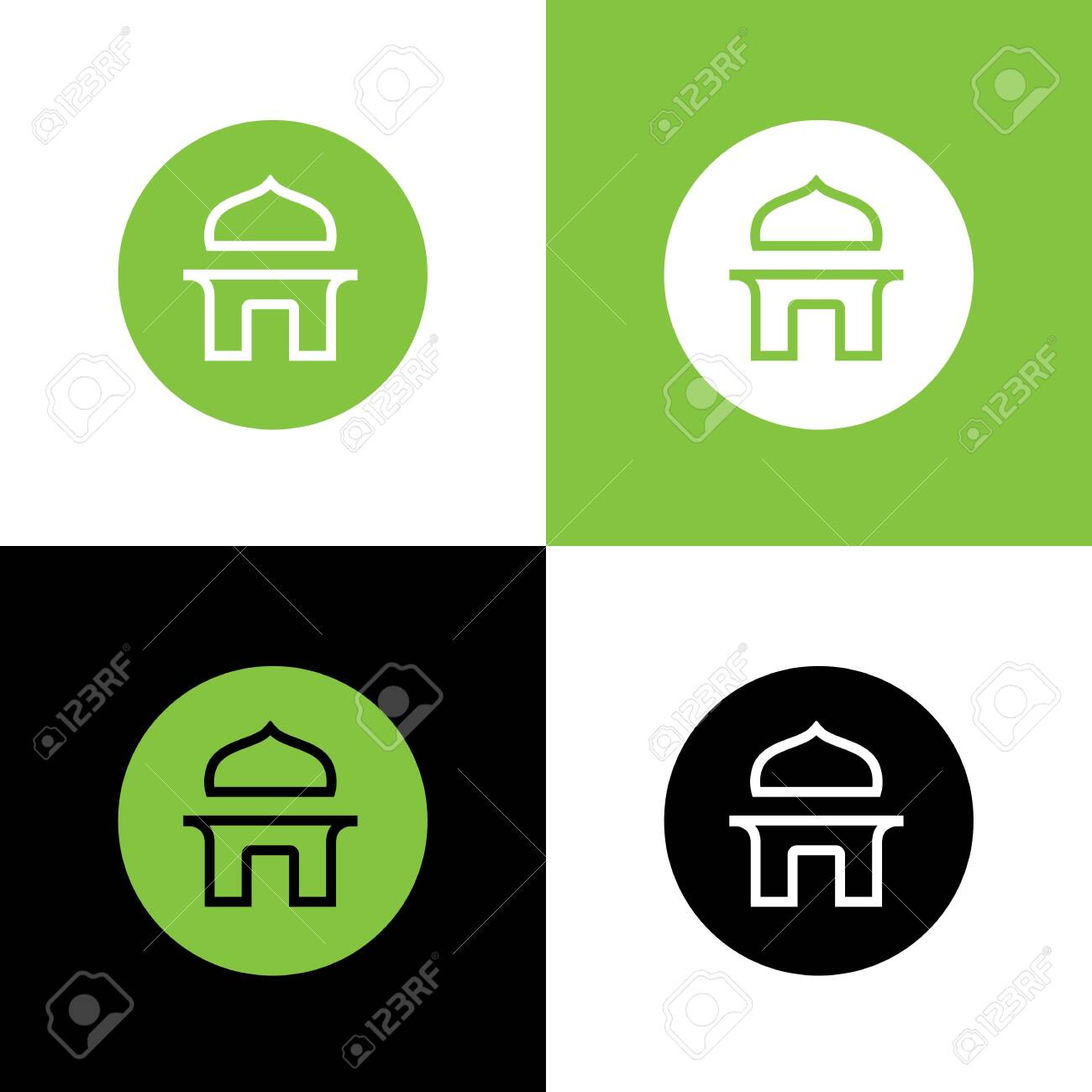 islamic mosque building circle logo icon design islam religion royalty free cliparts vectors and stock illustration image 134434749 123rf com