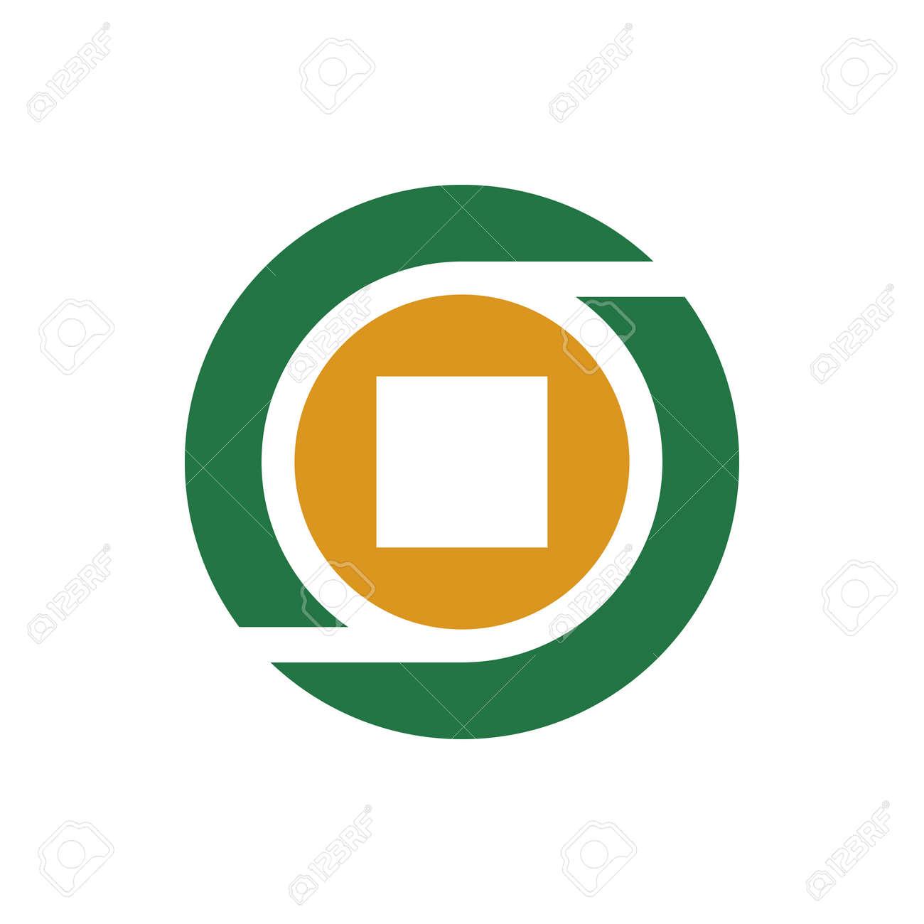 Letter O money coin logo icon design template, square shape inside a circle - Vector - 167527798
