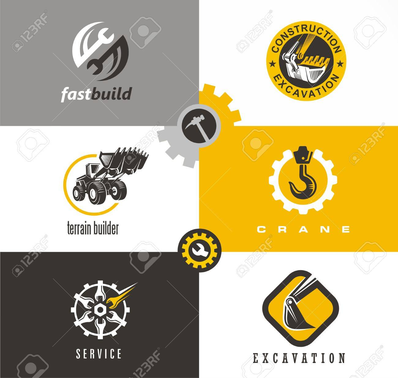 Construction And Building Symbols And Logo Designs Set With