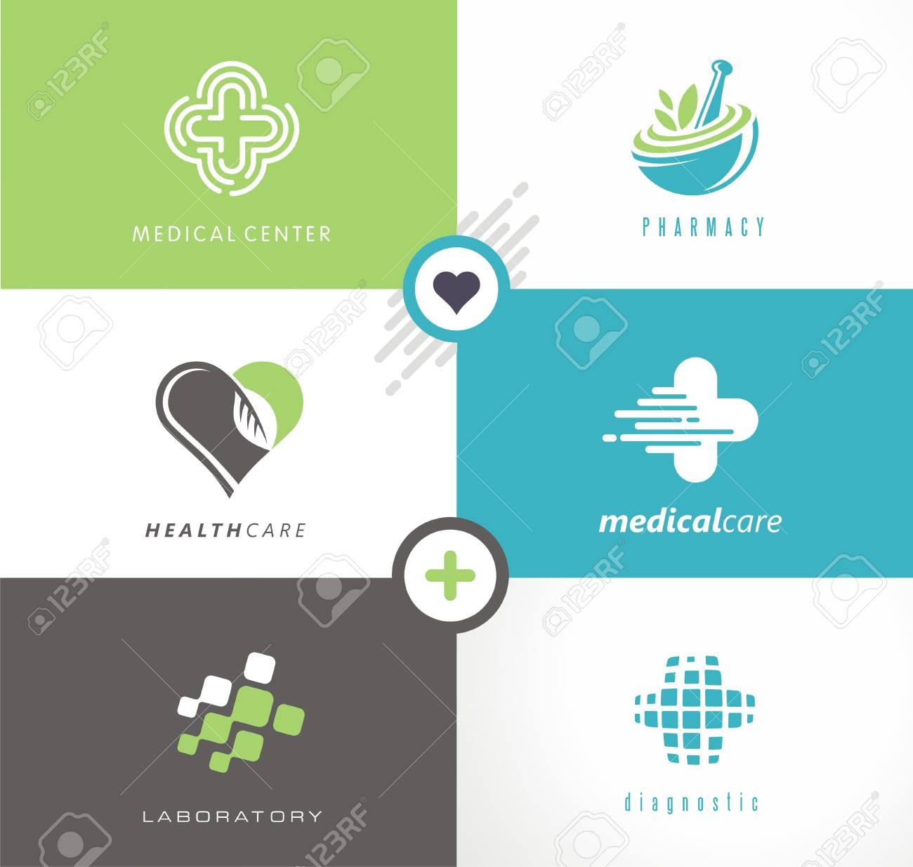 Medical and health care collection of creative logos, symbols..