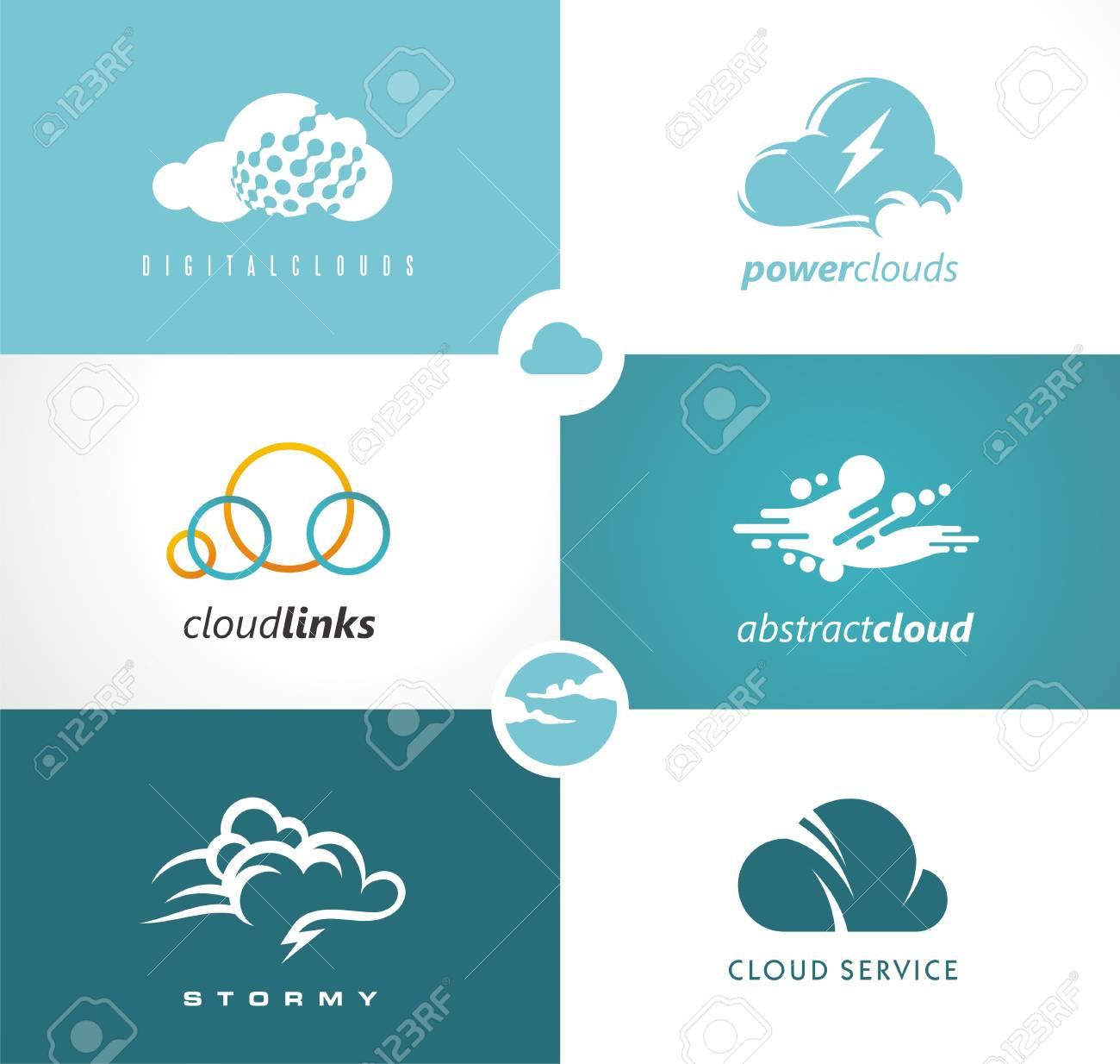 Set Of Cloud Vector Unique Drawing Of Cloud Symbol Web Technology