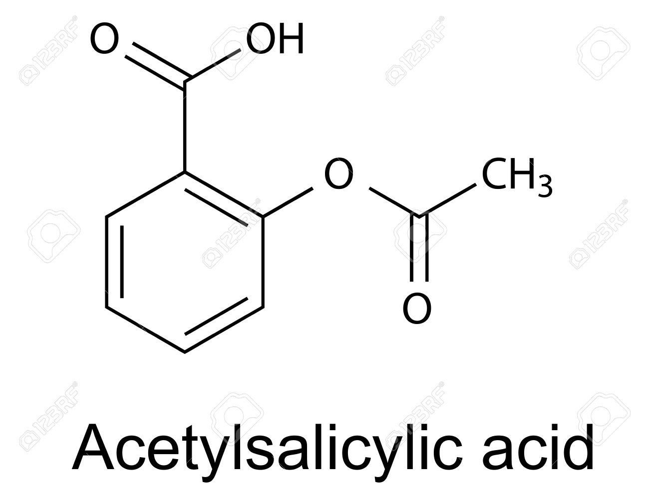 Structural chemical formula of acetylsalicylic acid aspirin , vector, 2d illustration, isolated on white background - 27535459