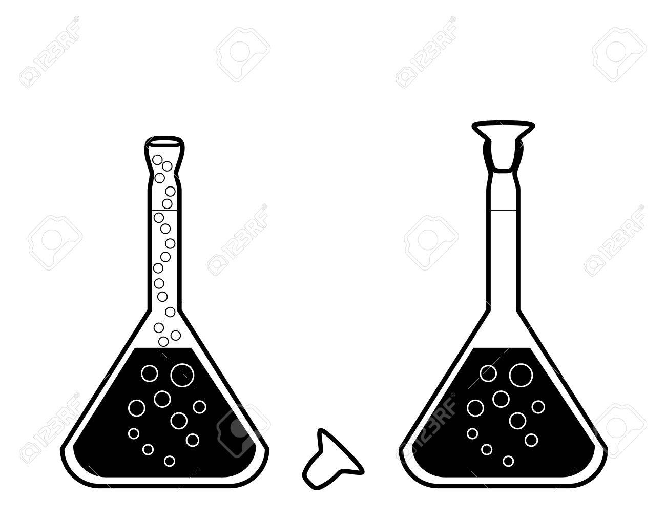 chemical volumetric flask with solution - laboratory glassware