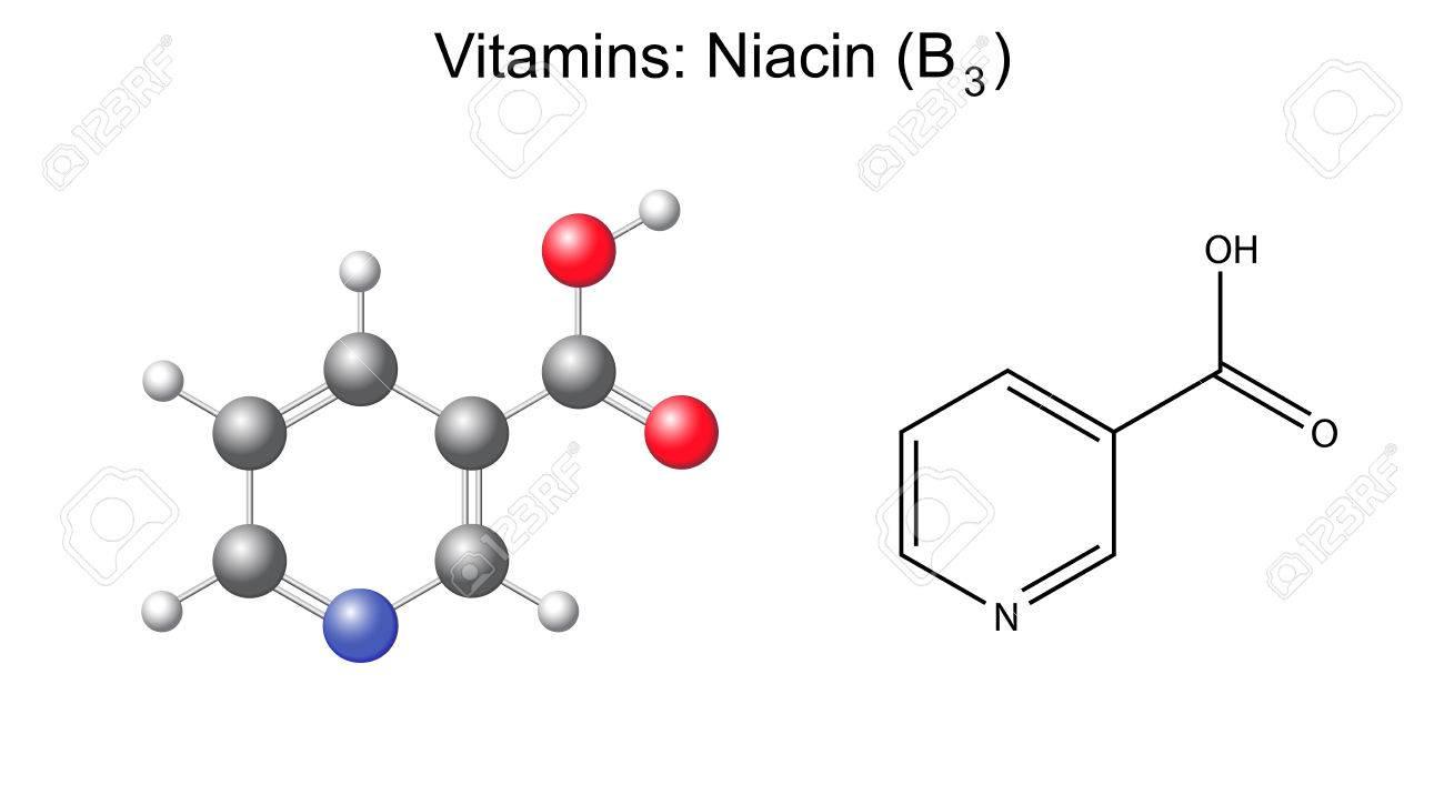 Fórmula Química Estructural Y El Modelo De ácido Nicotínico Niacina Vitamina B3 Ilustración 2d Y 3d Aislado En Fondo Blanco