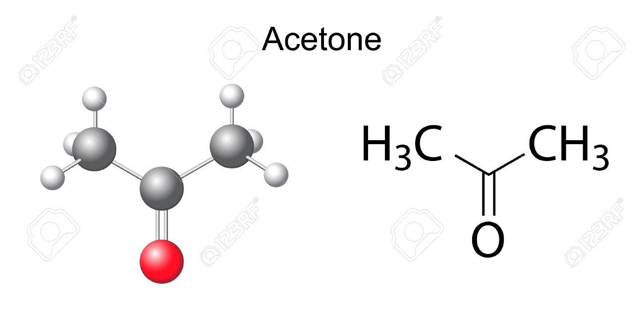 Structural Chemical Formula Of Acetone Molecule Royalty Free ...