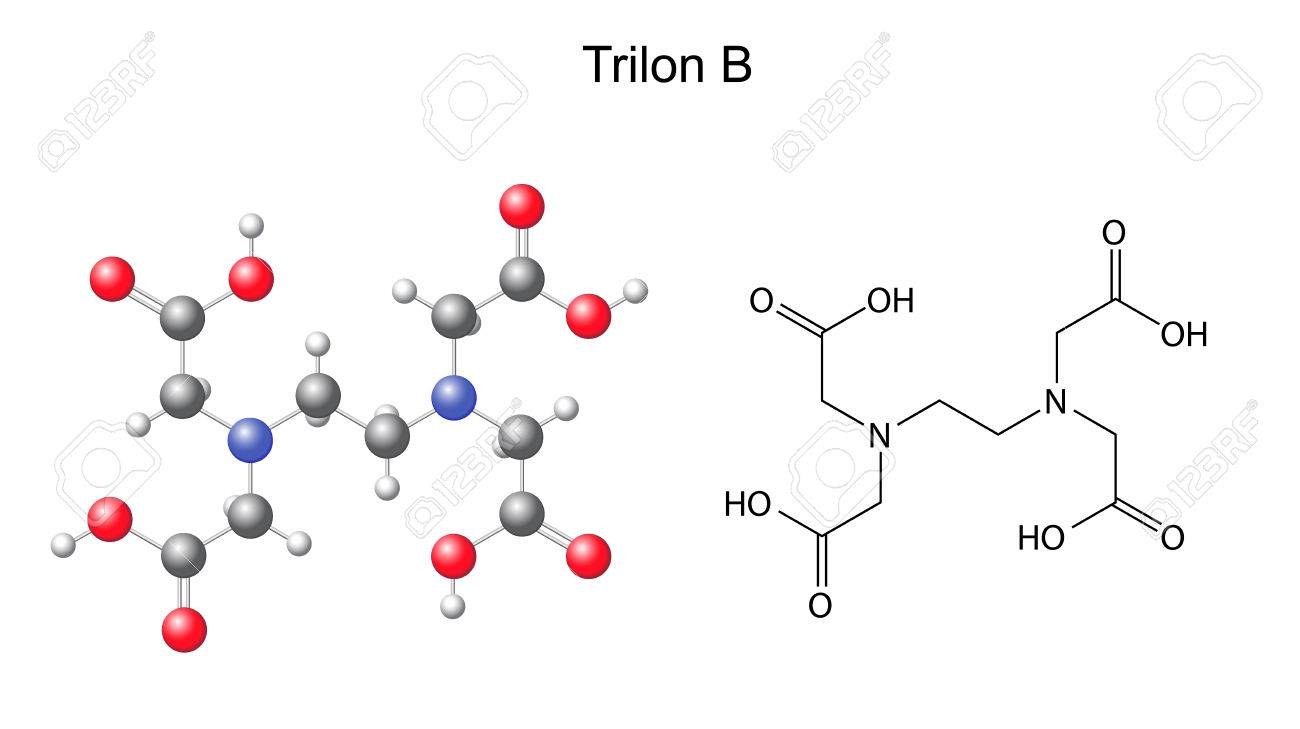 Structural Chemical Formula Of Trilon B - EDTA, 2d And 3d ...
