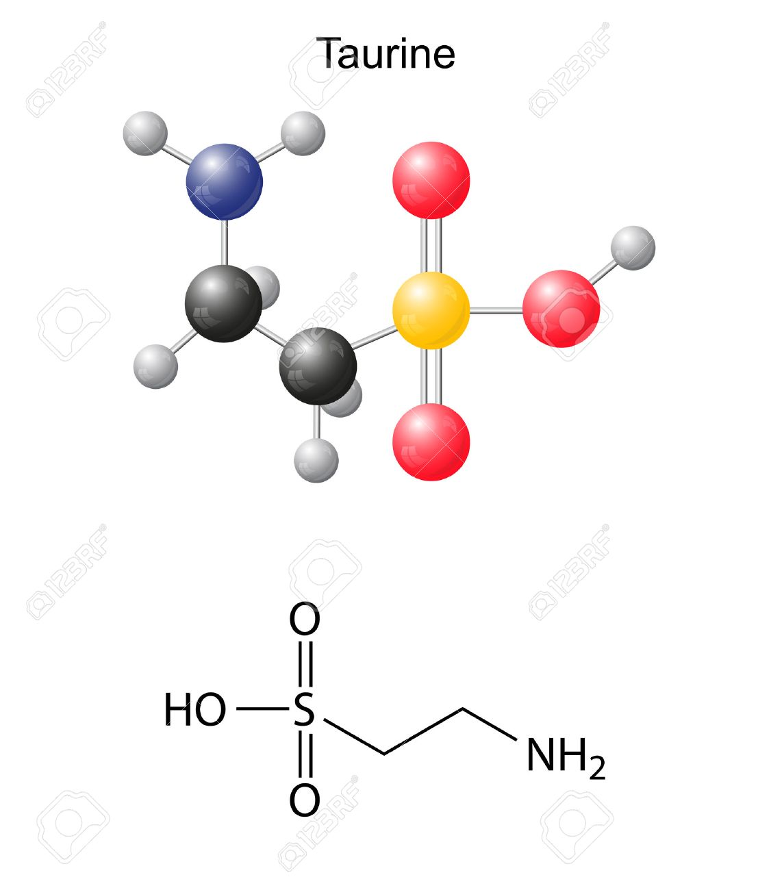 Taurine tau - chemical structural formula and models, amino acid, in vacuo, zwitterion, 2D and 3D illustration, balls and sticks, isolated on white background, vector, eps10 - 30656023