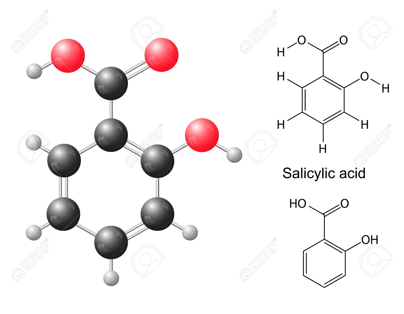 Structural chemical formulas and model of salicylic acid molecule, 2d 3d Illustration, isolated on white background, balls sticks, skeletal, vector, eps 10 - 30792276