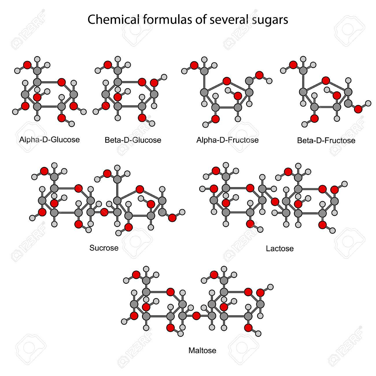 Structural chemical formulas of some sugars, 2d illustration, isolated on white background - 31597571