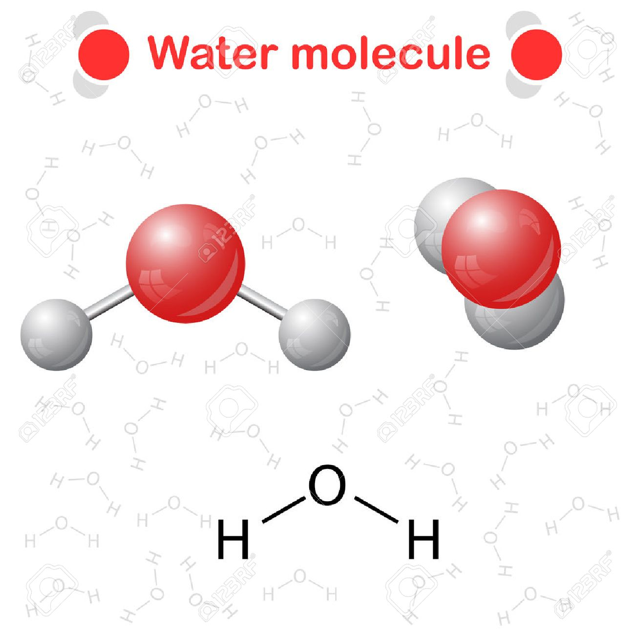 Water molecule icon and chemical formula h2o 2d 3d illustration water molecule icon and chemical formula h2o 2d 3d illustration vector buycottarizona Choice Image