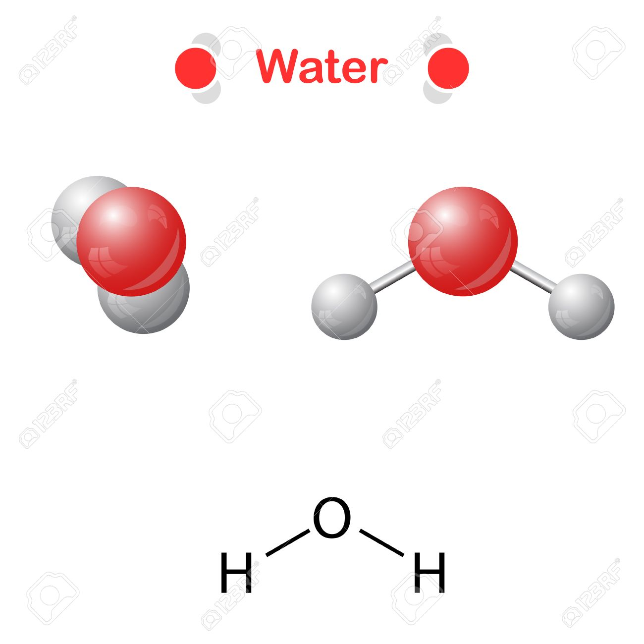 Water molecule icon and chemical formula h2o 2d 3d water molecule icon and chemical formula h2o 2d 3d illustration isalated buycottarizona Choice Image