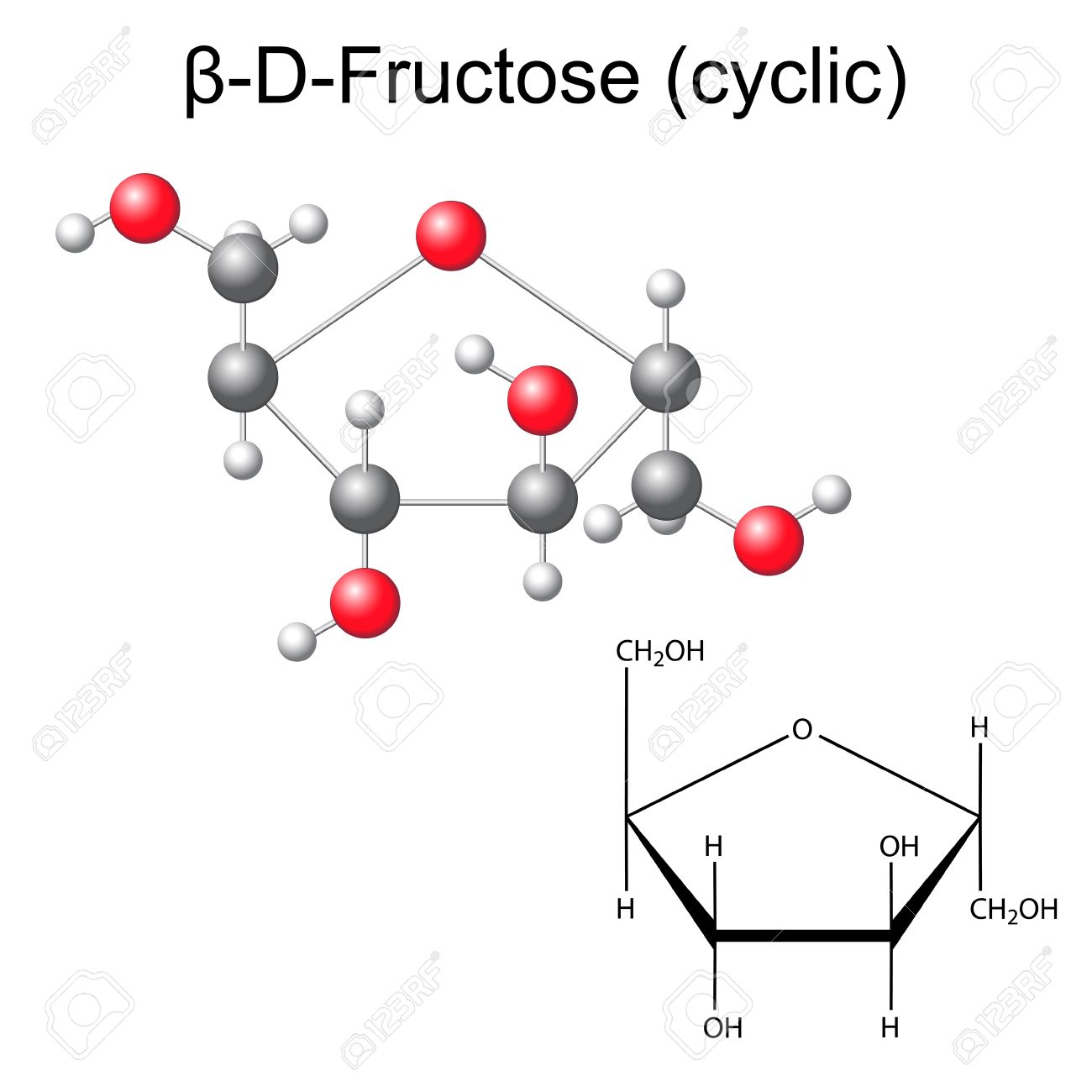 Structural Chemical Formula And Model Of Fructose Beta D Fructose
